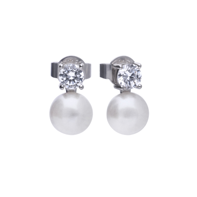 Brautschmuck Dolce Vita Ohrringe mit Stein und weißer Perle