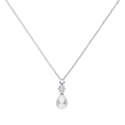 Brautschmuck Dolce Vita Kette mit großer weißer Perle und zwei Steinen