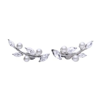 Brautschmuck Dolce Vita Ohrstecker mit weißen Perlen und Steinen