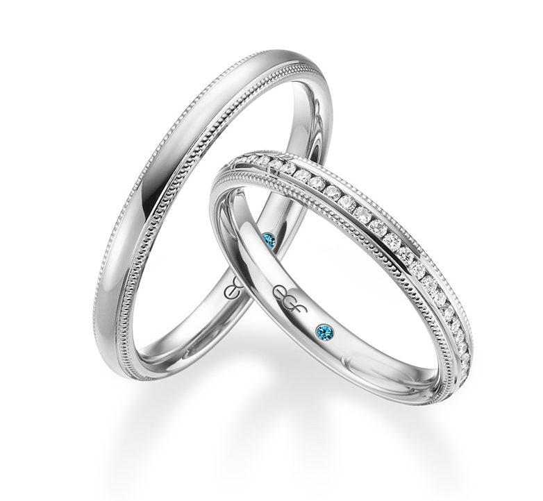 Trauringe Silber EGF mit blauem Stein