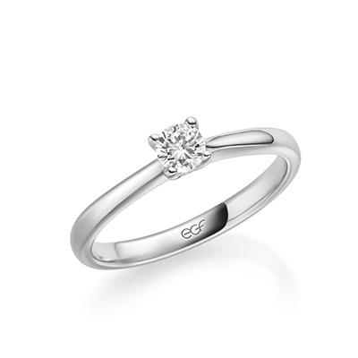 Verlobungsring EGF mit einem großen Stein silber