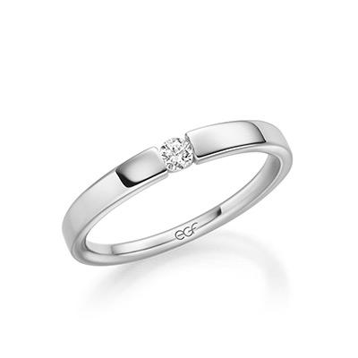 Verlobungsring EGF mit einem Stein silber